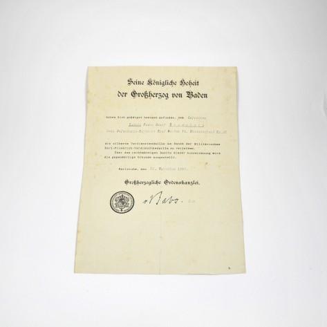 Baden Silberne Verdientsmedaille Certificate.