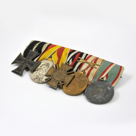 German Medal bar with five decorations.