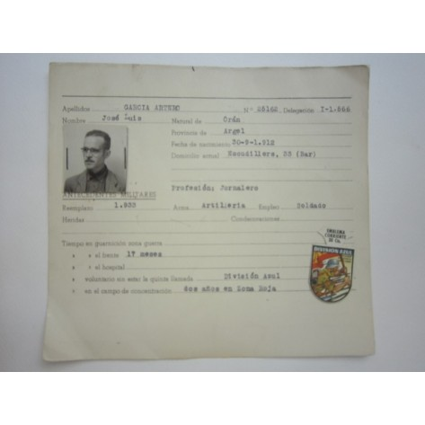 Enlisted Document in the Spanish Blue Division.