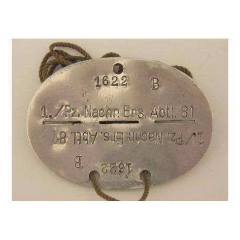 Second World War Dog Tag (1./Pz.Nachr.Ers.Abtl.81)